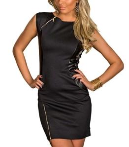 Boliyda Bodycon Schlanke Sexy Sommer mit Reißverschluss Zipper Faux Leder Kleid für Frauen F Freie Größengrößen Schwarze Farben M - 1