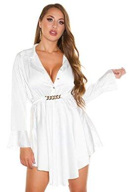 Koucla Party Kleid Minikleid Dress Satin Look Blusen-Kleid mit Deko Schnalle (Weiß) - 1