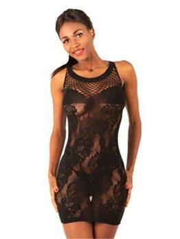 NELZ Damen Sexy Netz Party Minikleid Clubwear Transparent Schwarz - 1